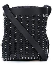 Женская черная кожаная сумка-мешок от Paco Rabanne