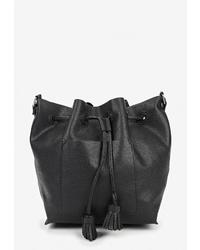 Черная кожаная сумка-мешок от Sela