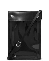 Черная кожаная сумка на шею