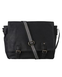 Мужская черная кожаная сумка почтальона от Tom Tailor