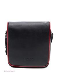 Мужская черная кожаная сумка почтальона от WASCO