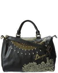 Черная кожаная сумка-саквояж с вышивкой
