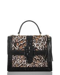 Черная кожаная сумка-саквояж с леопардовым принтом