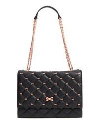Черная кожаная сумка-саквояж с украшением