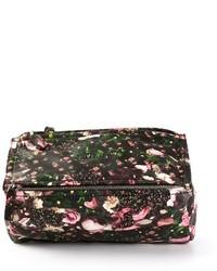 Черная кожаная сумка-саквояж с цветочным принтом
