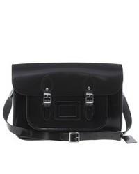 Черная кожаная сумка-саквояж
