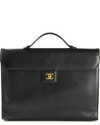 Женская черная кожаная сумка-саквояж от Chanel