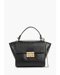 Черная кожаная сумка-саквояж от Federica Bassi
