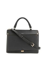 Женская черная кожаная сумка-саквояж от Furla