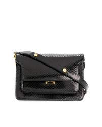 Женская черная кожаная сумка-саквояж от Marni