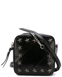 Черная кожаная сумка через плечо со звездами