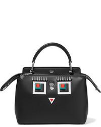 Женская черная кожаная сумка через плечо с украшением от Fendi