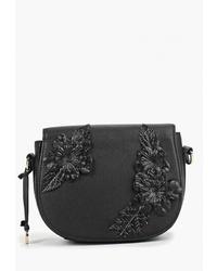 Черная кожаная сумка через плечо с украшением от Pola