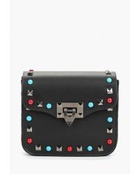 Черная кожаная сумка через плечо с украшением от Roberta Rossi