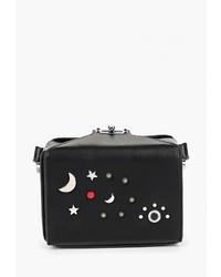 Черная кожаная сумка через плечо с украшением от Vitacci