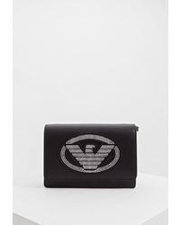 Черная кожаная сумка через плечо с шипами от Emporio Armani
