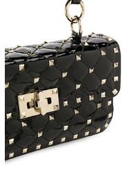 Черная кожаная сумка через плечо с шипами от Valentino