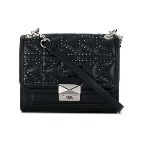 Черная кожаная сумка через плечо с шипами от Karl Lagerfeld