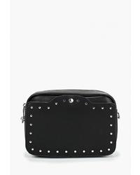 Черная кожаная сумка через плечо с шипами от Keddo