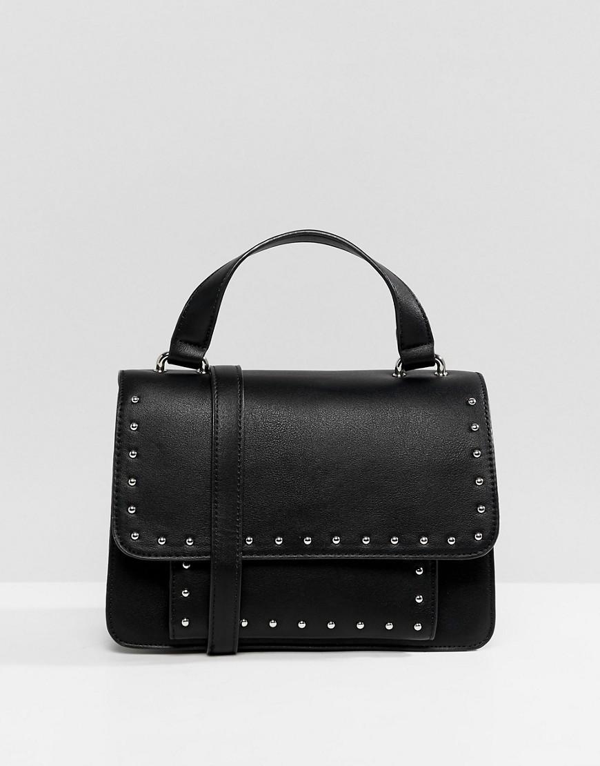 Черная кожаная сумка через плечо с шипами от Pull&Bear