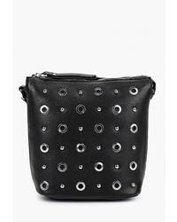 Черная кожаная сумка через плечо с шипами от Ventoro
