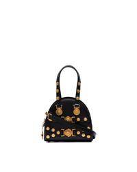 Черная кожаная сумка через плечо с шипами от Versace