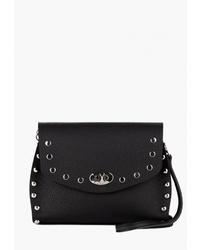 Черная кожаная сумка через плечо с шипами от Vintage