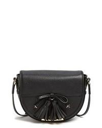 Черная кожаная сумка через плечо