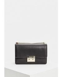 Черная кожаная сумка через плечо от DKNY
