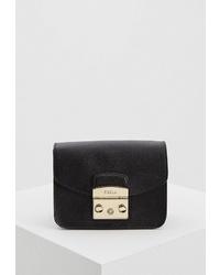 Черная кожаная сумка через плечо от Furla