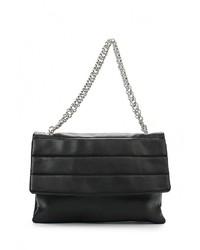 Женская черная кожаная сумка через плечо от Mango