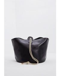 Черная кожаная сумка через плечо от Weekend Max Mara