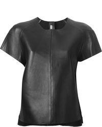 Черная кожаная футболка с круглым вырезом