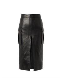 Черная кожаная юбка-карандаш с разрезом