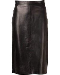 Черная кожаная юбка-карандаш