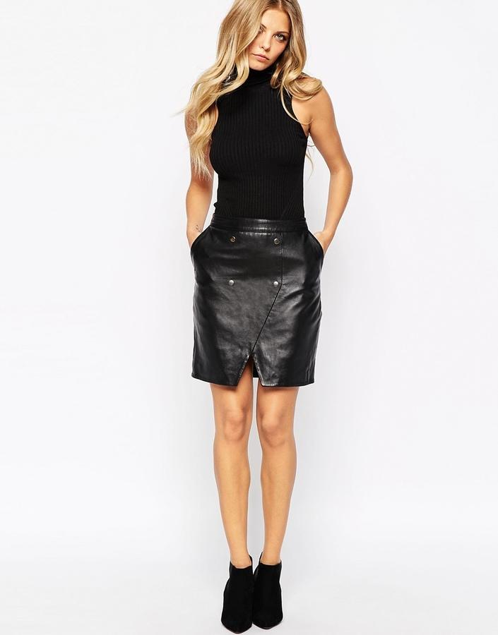 Купить юбку черную кожаную