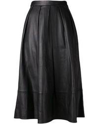 Черная кожаная юбка-миди со складками