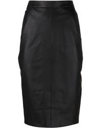 Черная кожаная юбка-миди