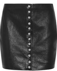 Черная кожаная юбка на пуговицах