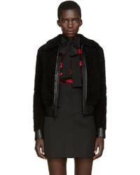 Женская черная короткая дубленка от Saint Laurent