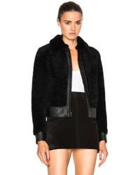 Женская черная короткая шуба от Saint Laurent