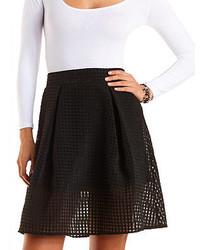 Черная короткая юбка-солнце в клетку
