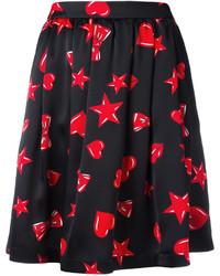 Черная короткая юбка-солнце с принтом