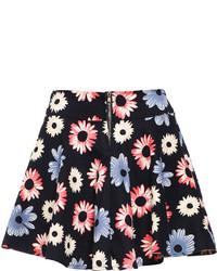 Черная короткая юбка-солнце с цветочным принтом