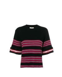 Женская черная кофта с коротким рукавом в горизонтальную полоску от Fendi