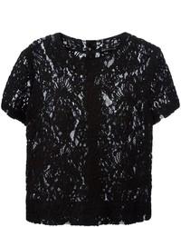 Черная кружевная блуза с коротким рукавом