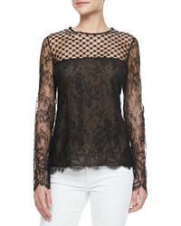 Черная кружевная блузка с длинным рукавом