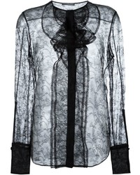 Черная кружевная блузка с длинным рукавом от Alexander McQueen