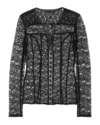 Черная кружевная блузка с длинным рукавом от Alexander Wang