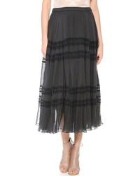 Черная кружевная длинная юбка со складками от Mes Demoiselles